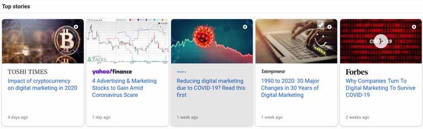 Google Top stories carousel